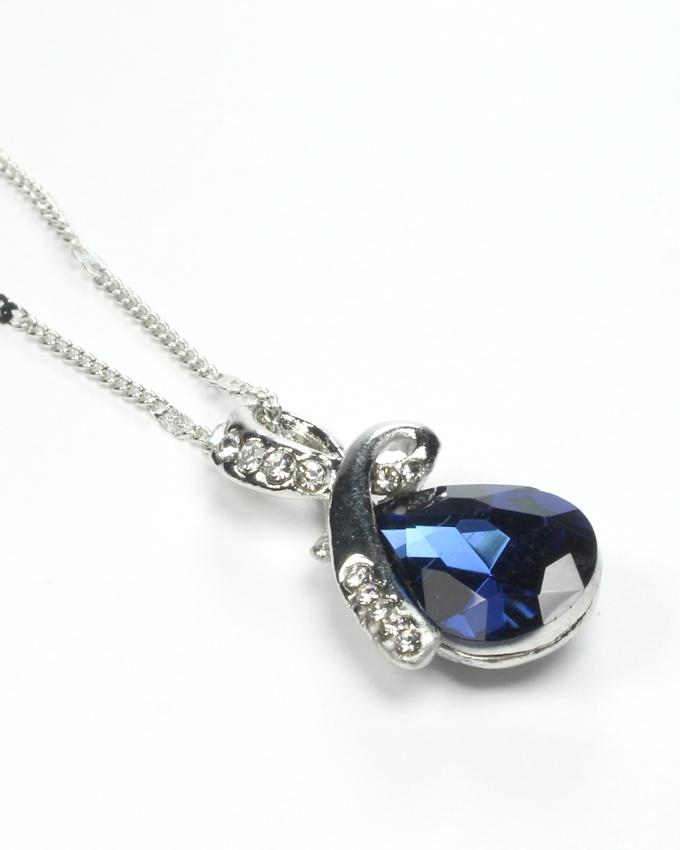 Silver Alloy Crystal Necklace for Women - NL-0019