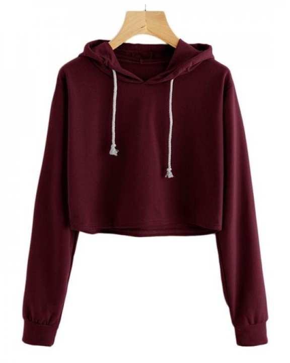 Maroon Pullover Croped Hoodie For Women Long Sleeve