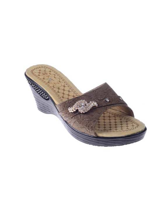 Brown Synthetic Leather Wedge for Women - QQ187