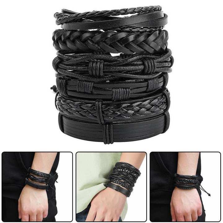 Pack Of 6 BLACK LEATHER - European Vintage Premium Quality Leather Bracelet- Cheapest Deals
