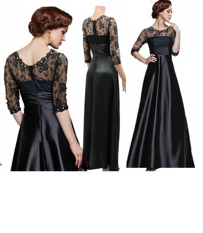 Black Silk Lace Dress With Fancy Neckline For Women