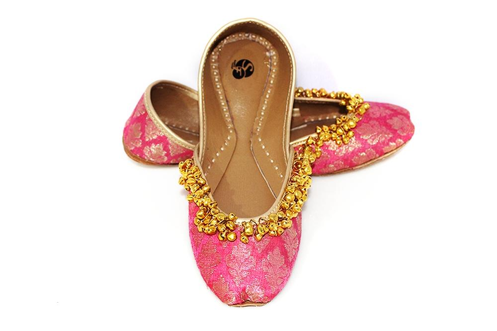 L Pink Khussa with Ghungroo For Women