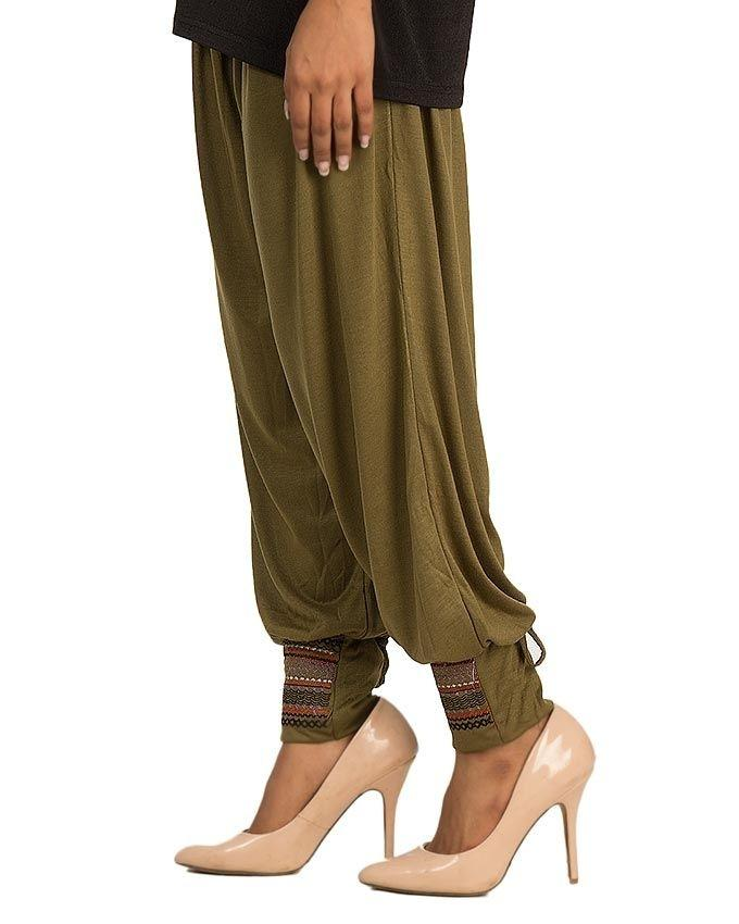 Green Viscose Embroidered Harem Pant For Women