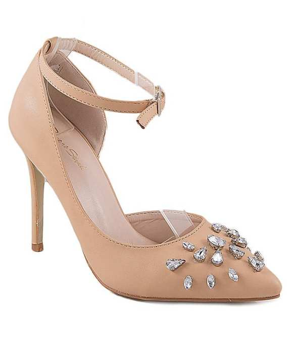 Beige Synthetic Leather Rsjourney Ankle Strap for Women