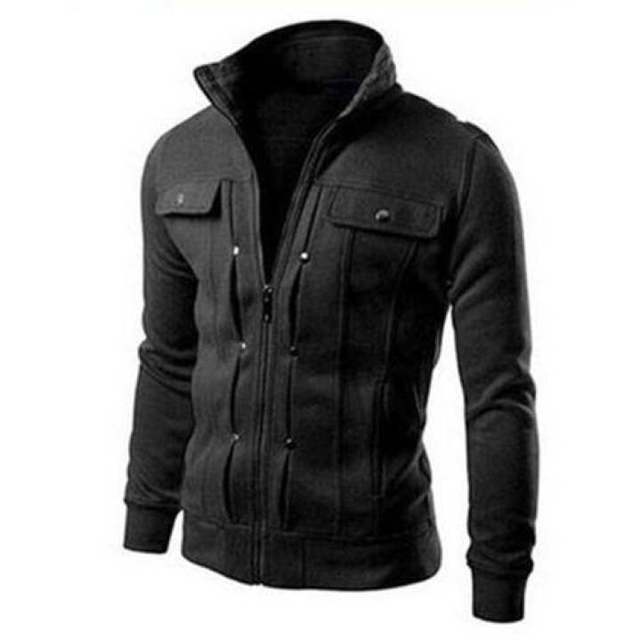 Black Mexican Jacket with Front Pocket for Men
