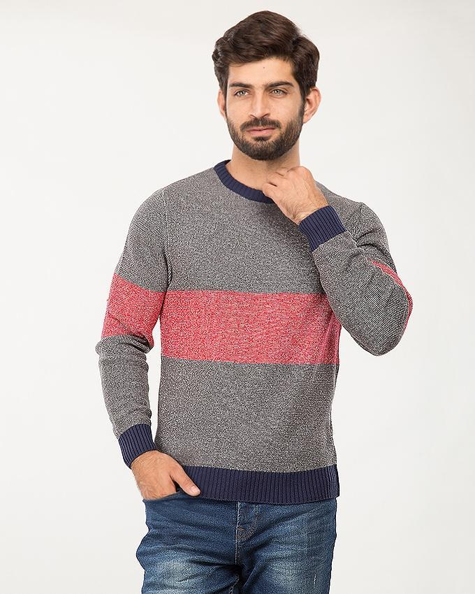 Grey/Red Cotton 2 Color Panel Sweater For Men