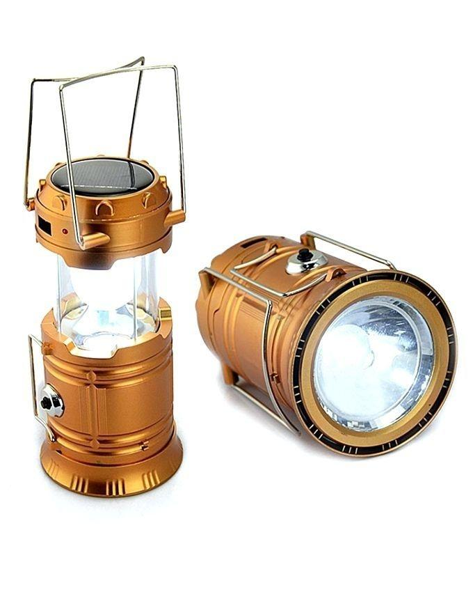 Solar Rechargeable LED Camping Lantern - Golden