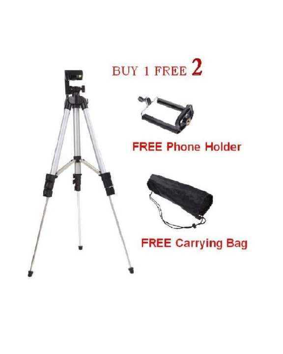 TRIPOD STAND 3110 - SILVER FOR CAMERA & MOBILE PHOTOGRAPHY -