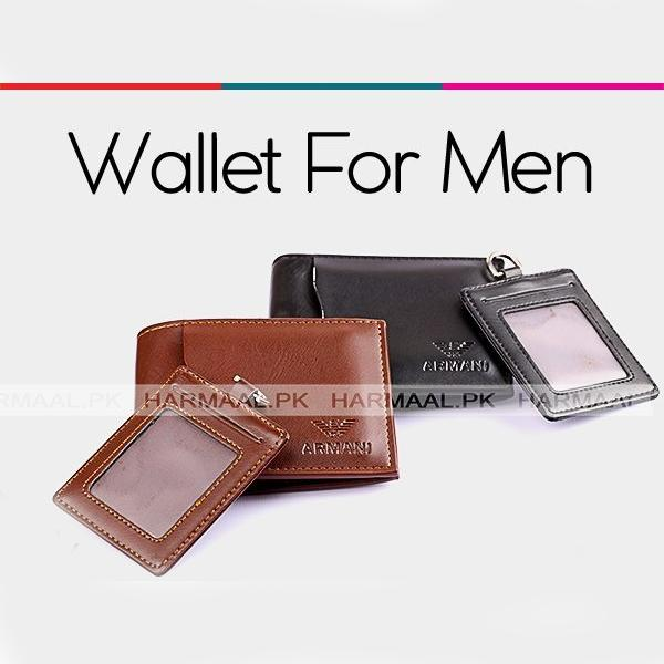 501a08c88fd PU Leather Armani Wallet With Card Holder Key-chain For Men Black   Brown