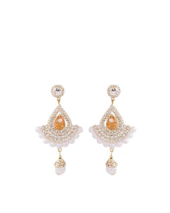 Golden Plated Pearl Earrings with Changable Crystals for Women - J-097