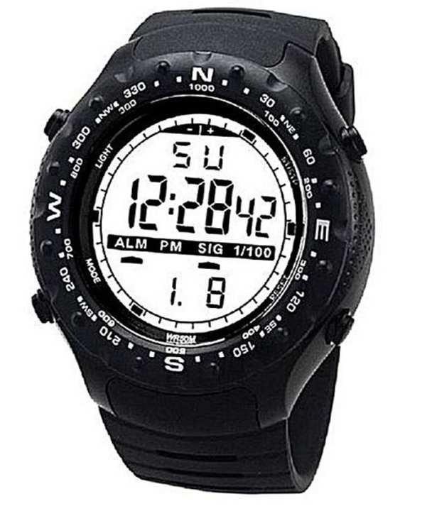 Black Rubber Multi-Functional Sport Digital Watch For Men