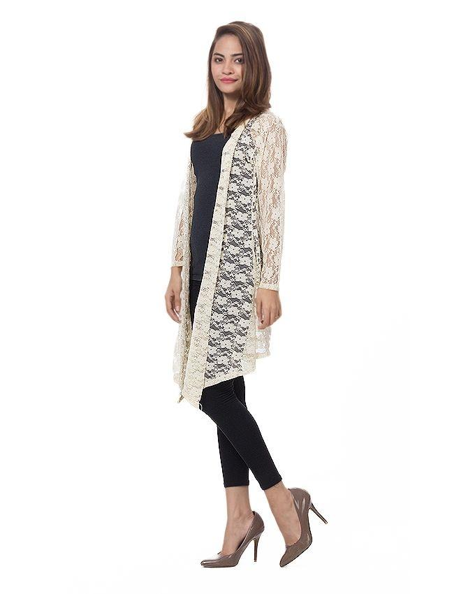 Cream Net Shrug For Women