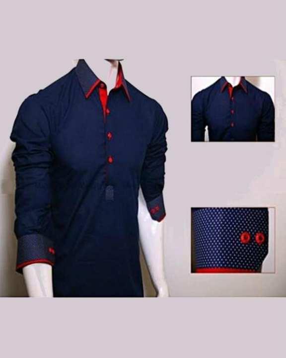 Navy Blue Collar Cotton Kurta For Men