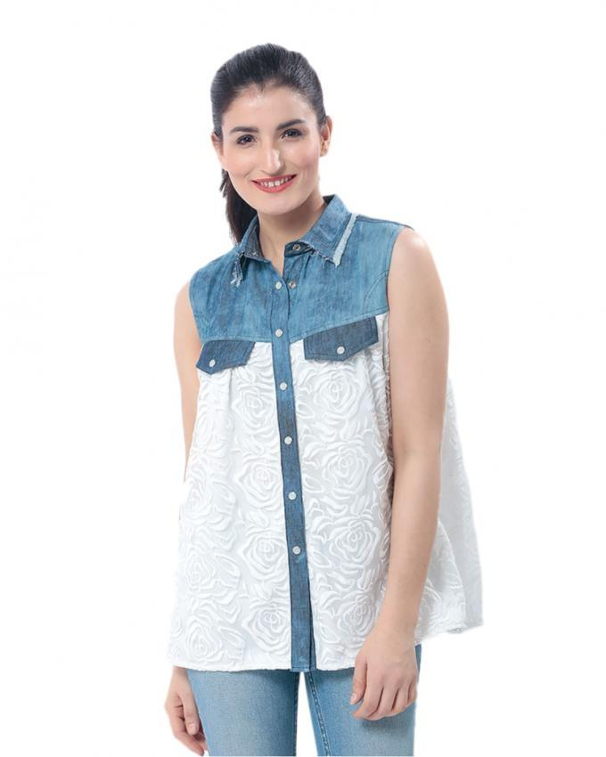 White & Blue Denim Top with Yoke for Women - MD-1978