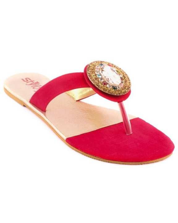 Red Synthetic Casual Chappal for Women