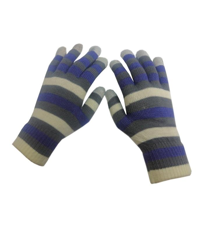 Blue & Grey Wool Gloves For Women- Smart Phone User