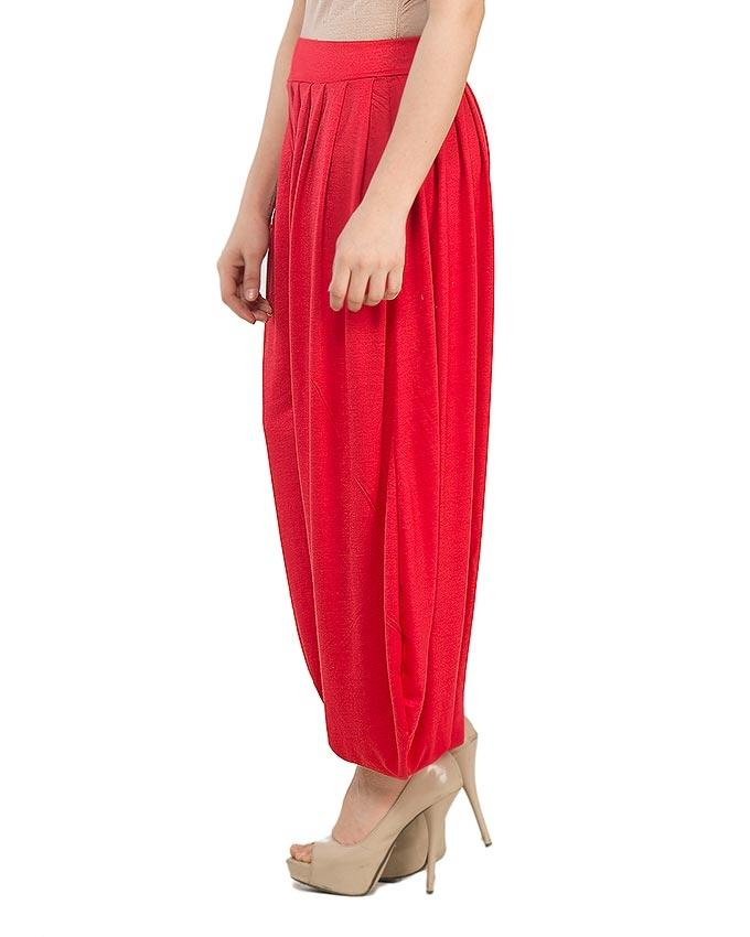Red Viscose Harem Pant for Women - AS-230