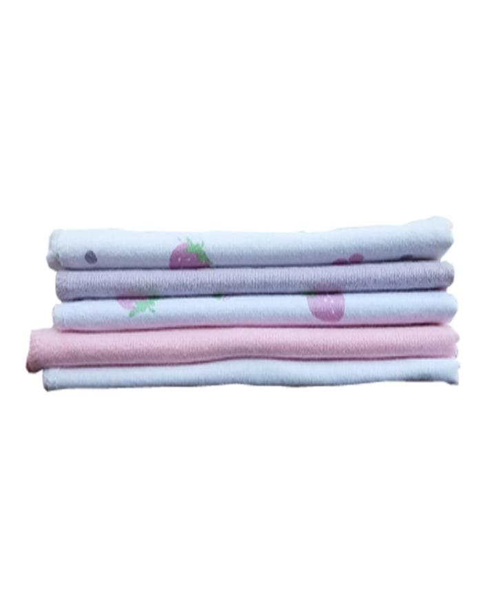 Baby Molton Wash Cloth - Pink - Pack of 5