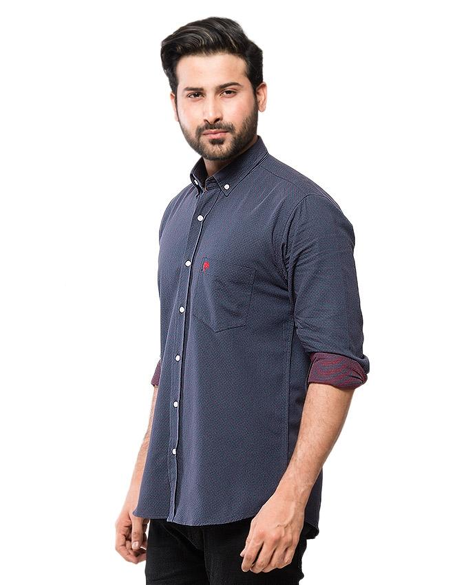 Navy Blue Cotton Dotted Shirt for Men - EPS 7