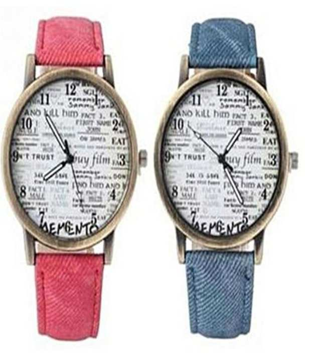 Pack Of 2 - Leather Strap News Paper Watch For Men