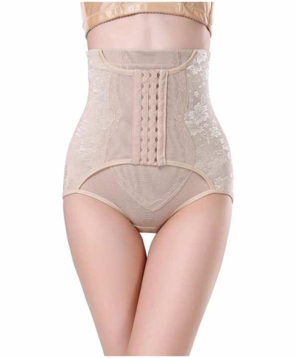 Beige Half Body Shaper Hip Control Panty For Women