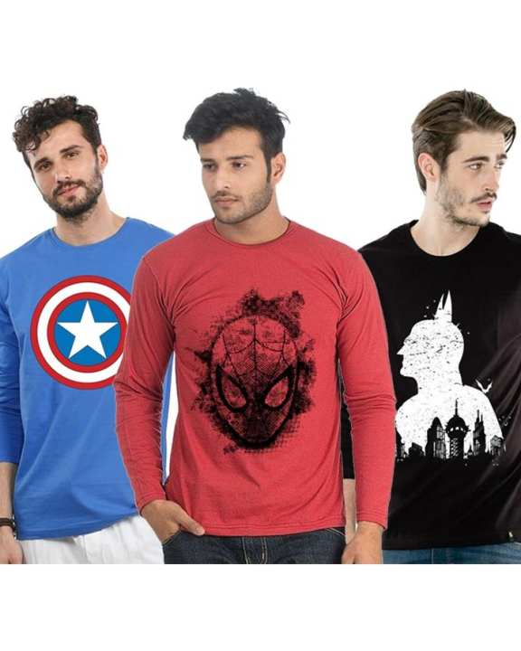 Pack of 3 - Multicolor Heros Printed T-shirts For Men