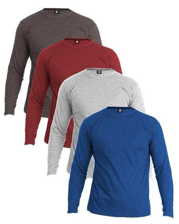 Pack Of 4 - Multicolor Cotton Full Sleeves Round Neck T-Shirt for Men
