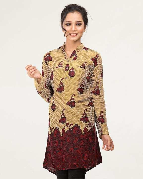 Women Printed Linen Kurta with Cut Style / Embalish Work