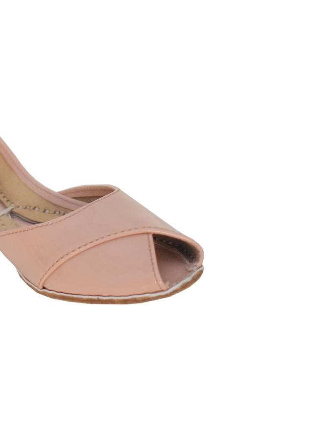 Peach Leather Glossy Peep Toe Khussa For Women SS-404