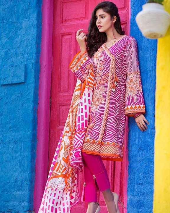 Pink Normal Printed 3 Pcs Lawn-Unstitched