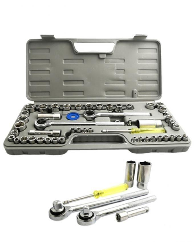 Combination Socket Wrench Set Toolkit - 52 pcs - Silver