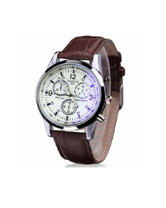 Brown Leather Wristwatch For Men