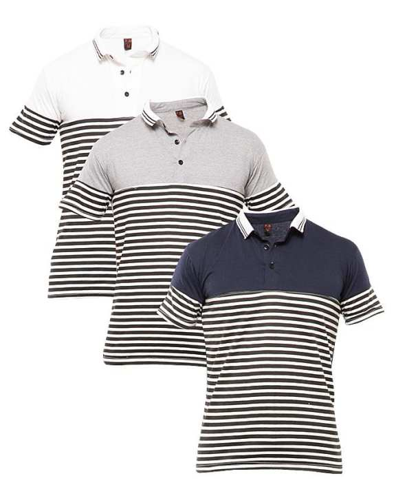 Pack Of 3 Yarn Died Coller Tshirts
