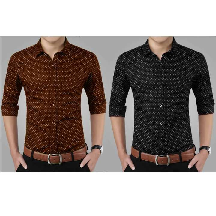 Pack Of 2 Dot Formal Shirts For Men - Brown And Black