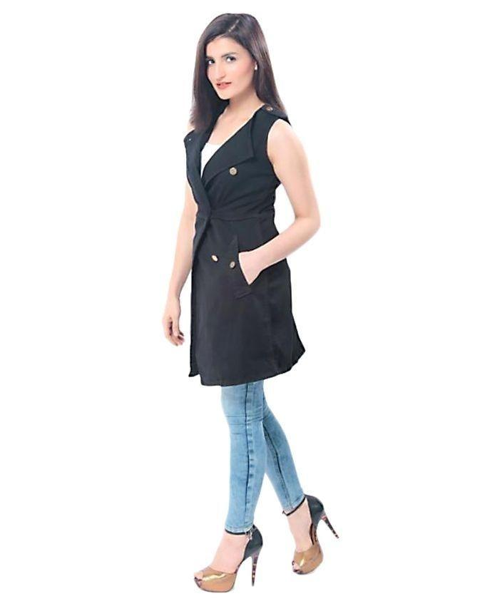 Black Denim Coat for Women