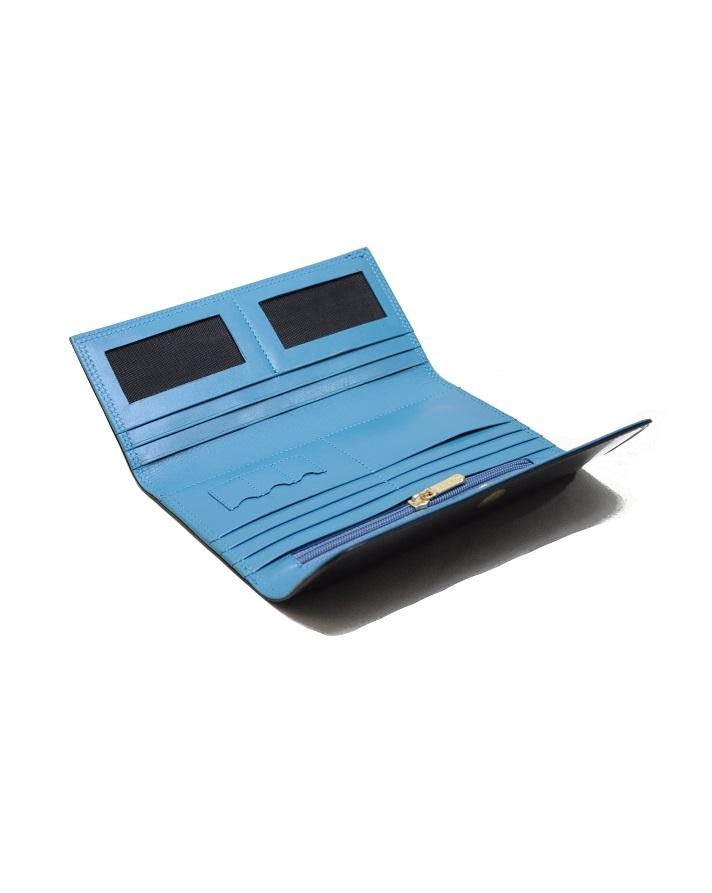 Black & Blue Leather Wallet For Women