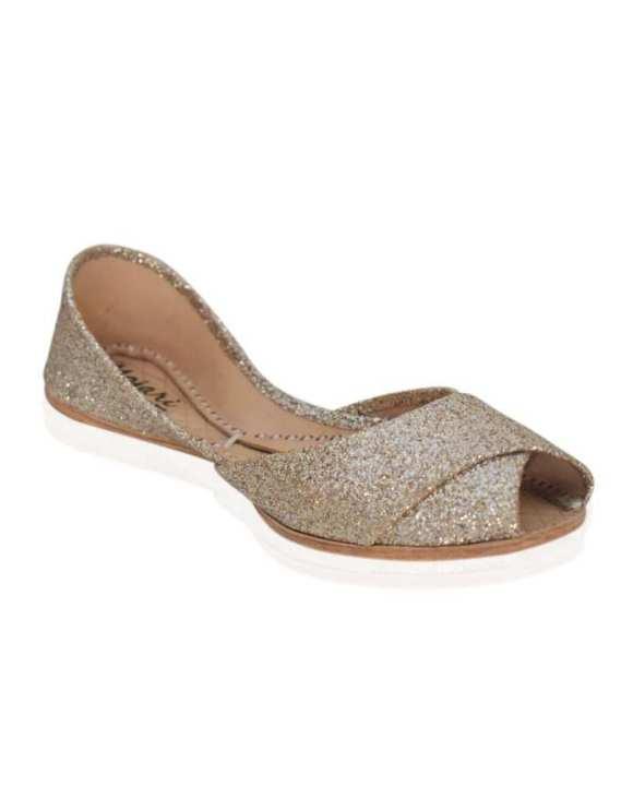 Mojari - Peach Shimmering Leather Khussa for Women