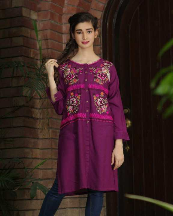 Purple Textured Lawn Embroidered Kurta For Women