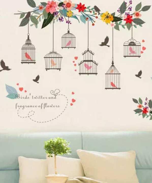 Flower Vine Bird Cage 3d Wall Stickers