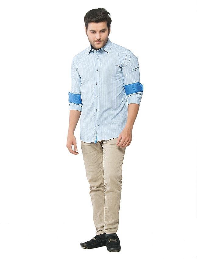 Blue & Green Cotton Striped Shirt for Men - FS16031