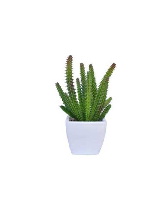 Decorative Lifelike Mini Artificial Cactus Plant in White Ceramic Pot