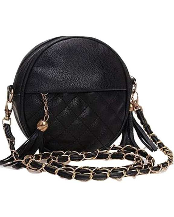Compact Small Black Round Leather Shoulder Handbag Detachable Strap