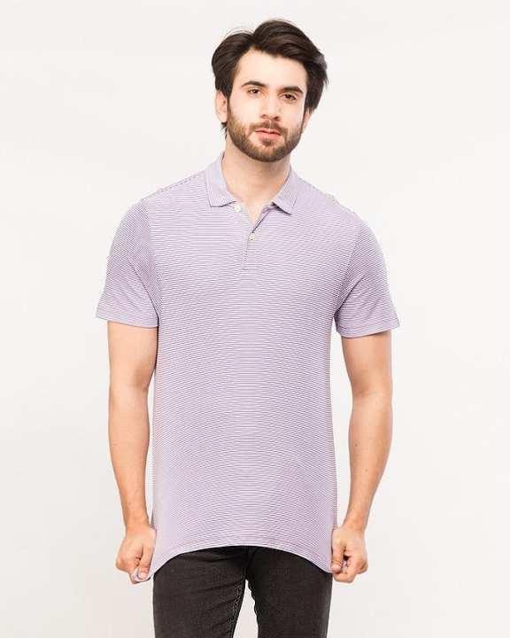 Light Purple Lining Polo Shirt for Men