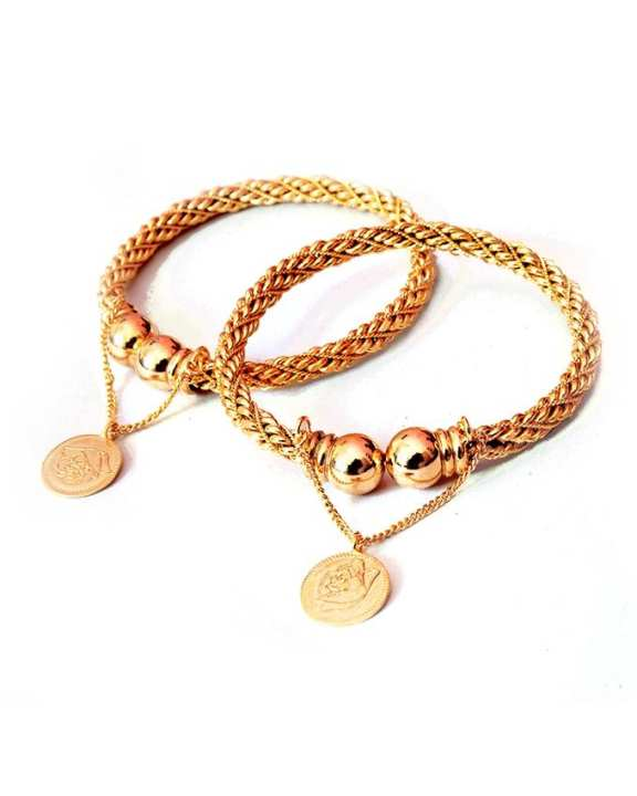 Gold Plated Pair Of Pound Bangle With Gift Box For Women