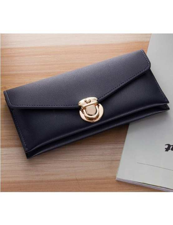 Black Artificial Leather Womens Hand Clutch