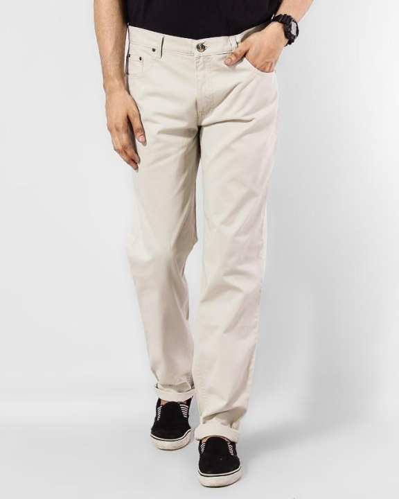 Wrangler Stretchable Off-White Color Pant For Him