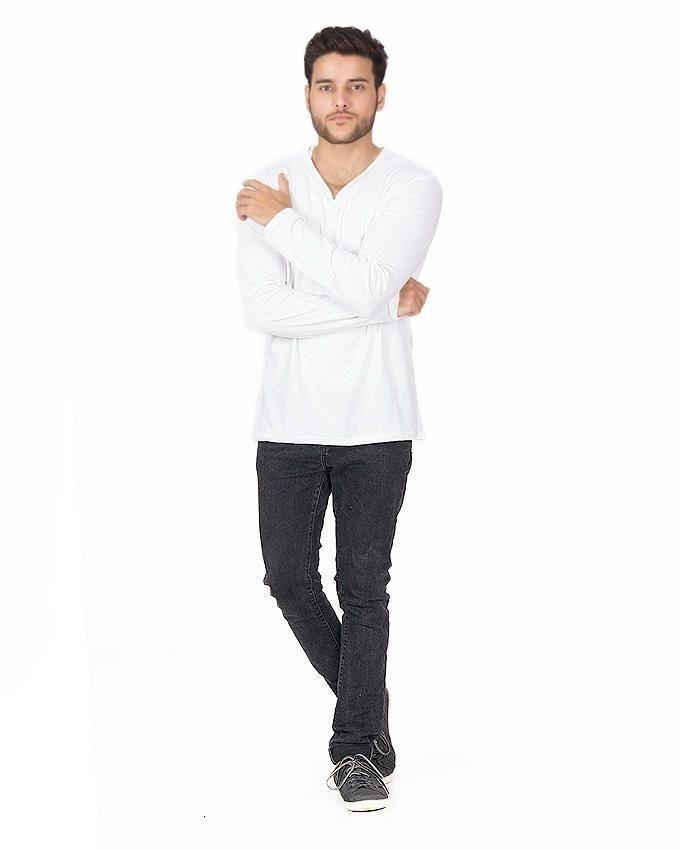 White Cotton V-Neck Full Sleeves T-Shirt For Men
