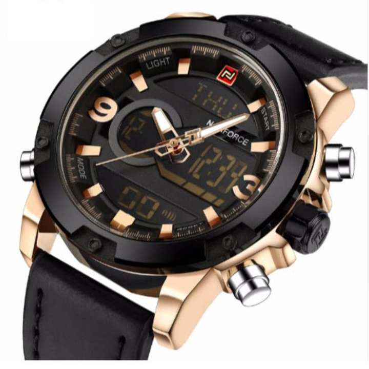NF9097 Multifunction Men's Leather Watch - Black & Gold