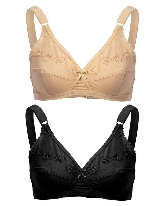 Pack of 2 Skin & Black Pure Cotton Bra for Women