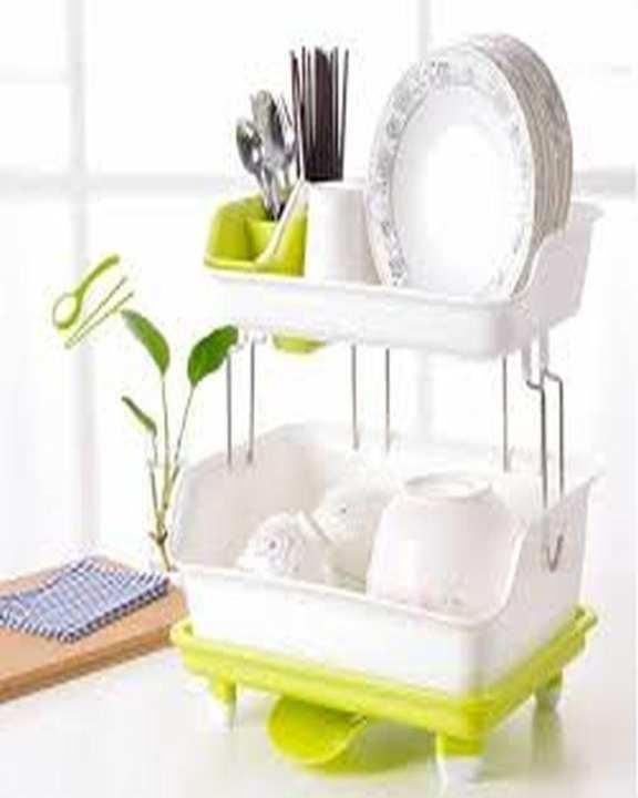 Premium Double Layer Drain Dishes Kitchen Storage Rack - Multicolour
